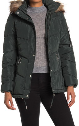 KENDALL + KYLIE Faux Fur Trimmed Puffer Jacket
