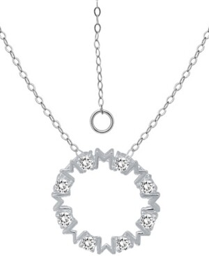 """Giani Bernini Cubic Zirconia """"Mom"""" Circle Pendant Necklace in Sterling Silver, 16"""" + 2"""" extender, Created for Macy's"""