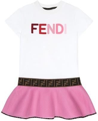 Fendi Kids Logo cotton-neoprene dress