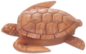 Novica Handmade Sea Turtle Guardian Wood Box