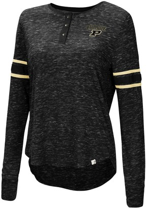 Colosseum Women's Black Purdue Boilermakers Stag Leap Sleeve Striped Long Sleeve Henley T-Shirt