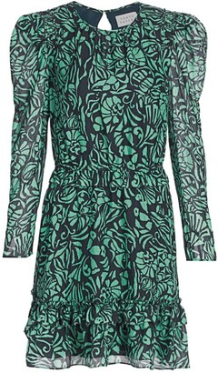 Tanya Taylor Telissa Long-Sleeve Printed Mini Dress