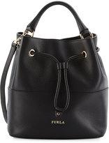 Furla Brooklyn Leather Drawstring Hobo Bag, Onyx
