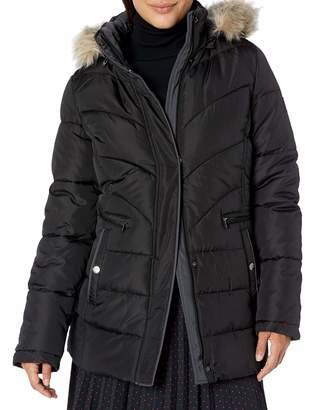 Larry Levine Women's Short Puffer W/Tonal Color Binding & Faux-Fur Trimmed Hood