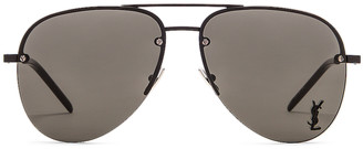 Saint Laurent Classic 11M Aviator Sunglasses in Semi matte Black & Grey | FWRD