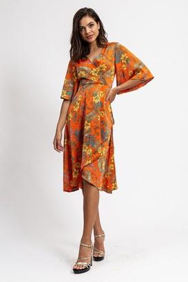 Liquorish Orange Wrap Dress in Floral Print with Kimono Sleeves