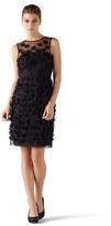 White House Black Market Rosette Applique Black Party Dress