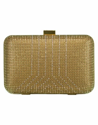 Whiting & Davis Gold Crystal Yves Minaudiere Box Clutch
