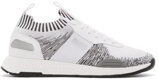HUGO BOSS White and Grey Titanium Run Sneakers