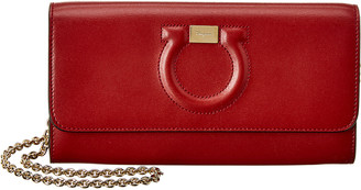 Salvatore Ferragamo Gancini City Leather Wallet On Chain