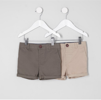 River Island Mini boys khaki and stone shorts multipack