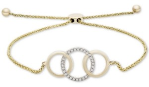 Wrapped Diamond Triple Ring Bolo Bracelet (1/10 ct. t.w.) in 14k Gold, Created for Macy's