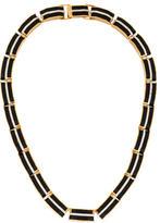 Rachel Zoe Crystal & Leather Link Necklace