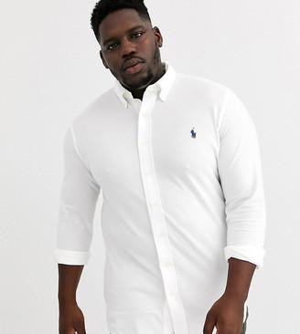 Polo Ralph Lauren Big & Tall icon logo button down pique shirt in white