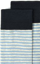 Selected Homme Blue And Off White Stripe Socks