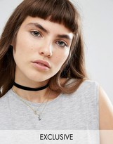 Reclaimed Vintage Moon Charm Layered Choker Necklace