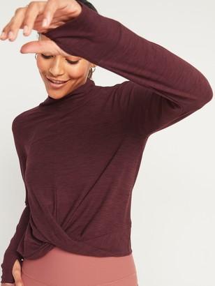 Old Navy Breathe ON Mock-Neck Twist-Hem Long-Sleeve Top for Women