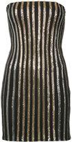 Balmain glitter stripe strapless dress - women - Acetate/Viscose/Polyester/Brass - 38