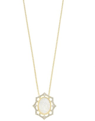 Mother of Pearl Unbranded 18K Gold Over Silver & Cubic Zirconia Virgin Mary Necklace