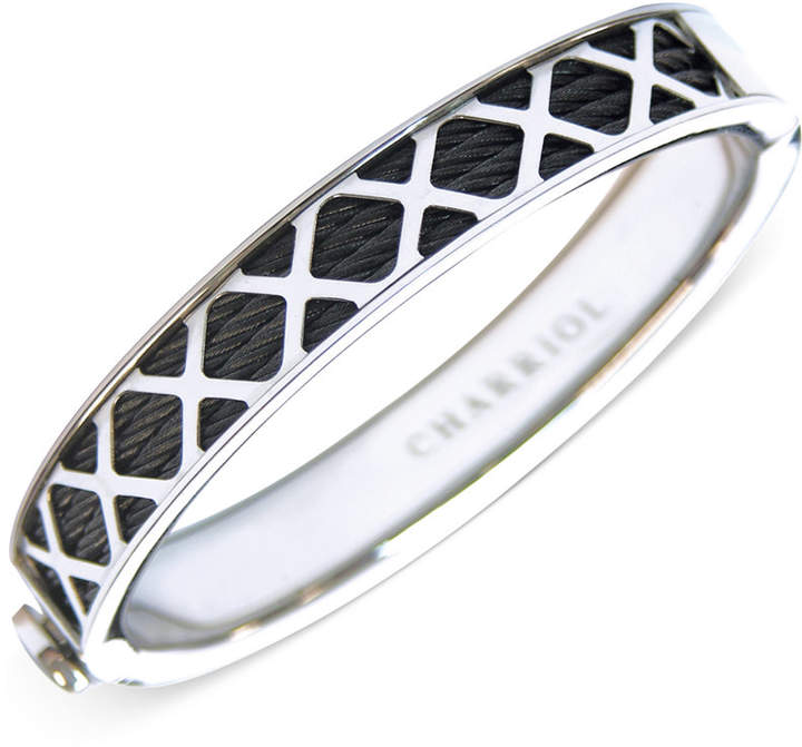 Charriol Womens Black and Silver-Tone Multi-x Cable Bangle Bracelet