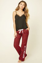 Forever 21 FOREVER 21+ Tired Graphic Plaid PJ Pants