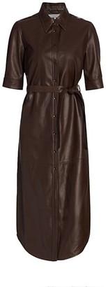 Frame 70s Short-Sleeve Leather Shirtdress