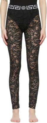 Versace Underwear Black Lace Medusa Leggings