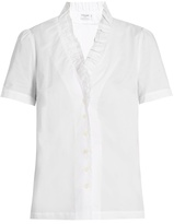 Frame Ruffled-neck cotton blouse