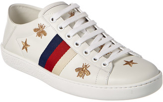 Gucci Bees & Stars Embroidered Leather Sneaker