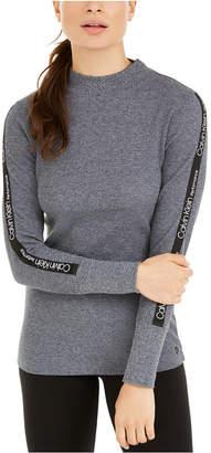 Calvin Klein Logo-Stripe Mock-Neck T-Shirt
