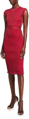 Herve Leger Jewel-Neck Metallic-Ribbed Midi Dress