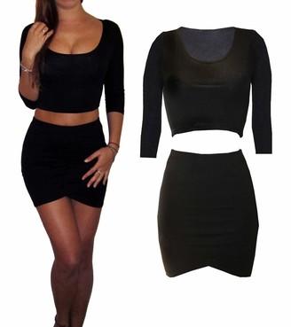 Peaches Cream Womens Ladies Co Ord 2 Piece Set Jersey Dress Skirt Crop Top Black Size 8 10 12 (12)