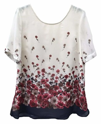 Monsoon Scoop Neck Short Sleeve Pansy Floral Chiffon Top (14) Ivory