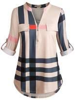 Moyabo Women's 3/4 Cuffed Sleeve Zip Notch V Neck Casual Plaid Tunic Shirt Blouse Top Apricot XX-Large