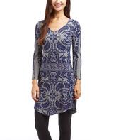 Blue & Gray Arabesque V-Neck Dress