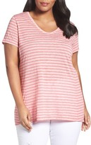 Sejour Plus Size Women's V-Neck Stripe Tee