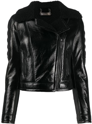 Philipp Plein Shearling-Trimmed Moto Jacket