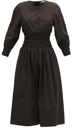 Three Graces London Arianna Shirred Cotton-poplin Dress - Black