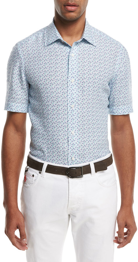 Isaia Micro-Leaves Short-Sleeve Sport Shirt, Blue/Green