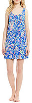 Lauren Ralph Lauren Paisley Pleated Jersey Racerback Nightgown