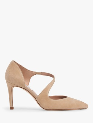 LK Bennett Victoria Suede Asymmetric Cut Court Shoes, Trench