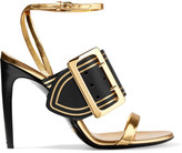 Burberry Metallic Leather Sandals - Gold