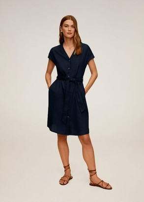 MANGO Belt linen dress dark navy - 2 - Women