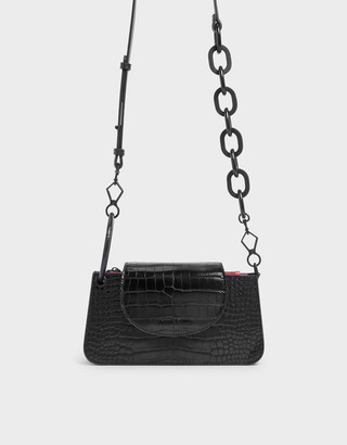 Charles & KeithCharles & Keith Croc-Effect Ring Handle Mini Front Flap Wallet