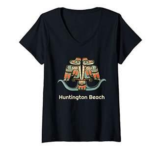 Womens Huntington Beach California Thunderbird NW Native American V-Neck T-Shirt