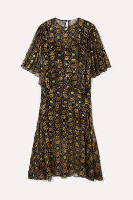 Preen by Thornton Bregazzi Lydia Floral-print Devoré-chiffon Midi Dress - Black