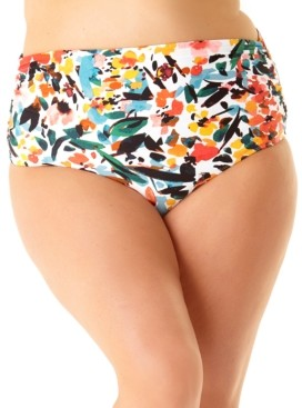 Anne Cole Plus Size Sunset Floral Printed High-Waist Bikini Bottoms Women's Swimsuit