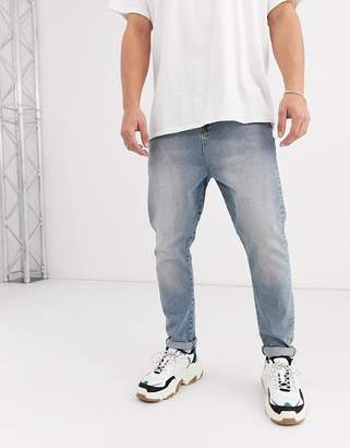 Asos Design DESIGN drop crotch jeans in vintage light wash blue