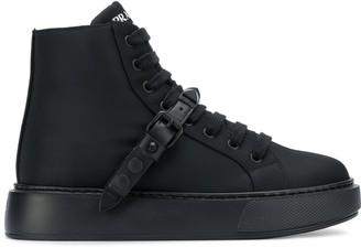 Prada buckled strap high-top sneakers