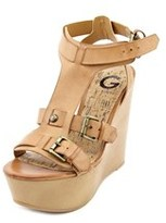 G by Guess Tazzy Women Open Toe Synthetic Tan Wedge Sandal.